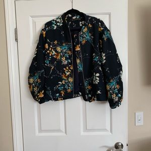 Zara Quilted Floral Bomber Jacket